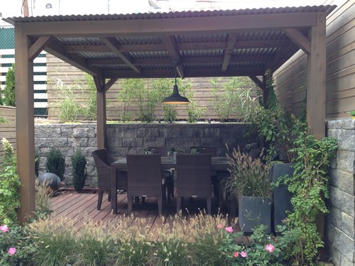 Cedar Pergola w/ Corrugated Metal Roof - Pergola — Dion City Landscapes, Inc.