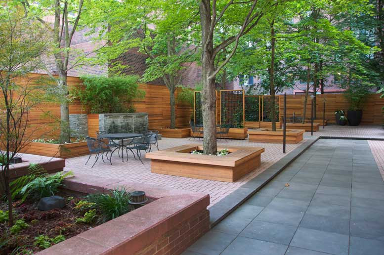 Battery Park City, Manhattan- Bluestone Patio, Clear Cedar Fence, Benches, Planters, Bluestone Water Feature