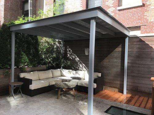 Cedar Pergola w/ Corrugated Metal Roof - Pergola — Dion City Landscapes, Inc.