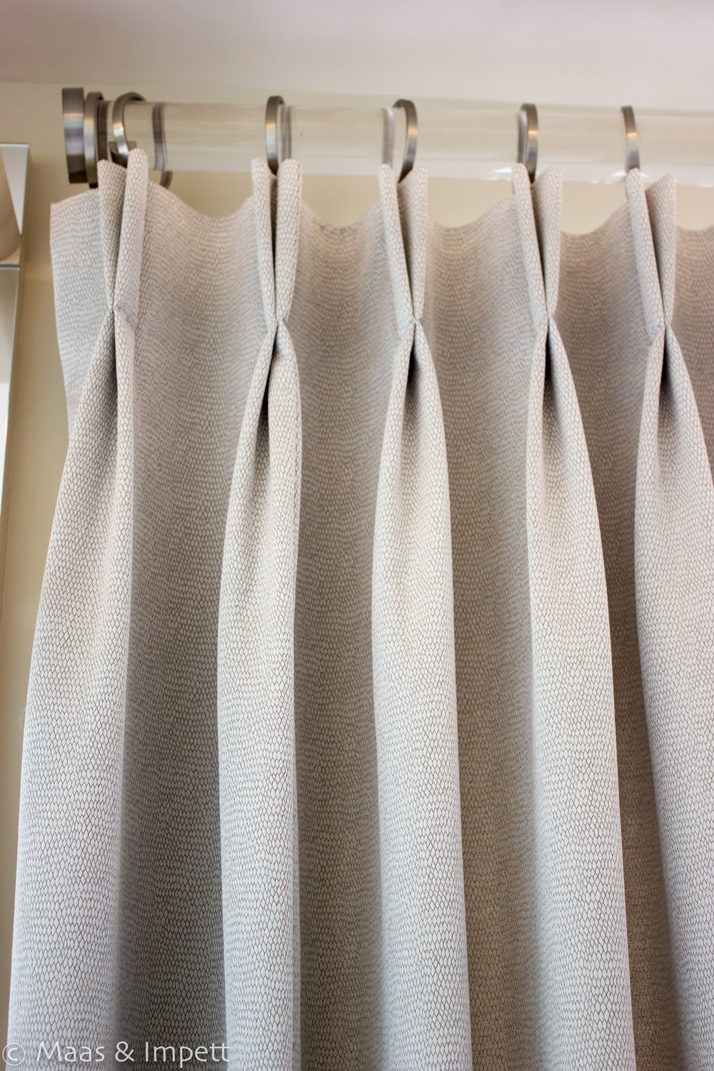 Made to measure curtains created by Interior designers Maas & Impett