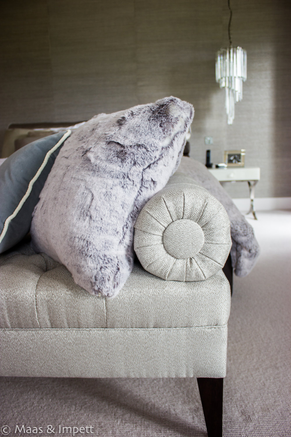Unpholstered Chaise Longue by Hampshire based Interior designers and fabric specialists, Maas & Impett.