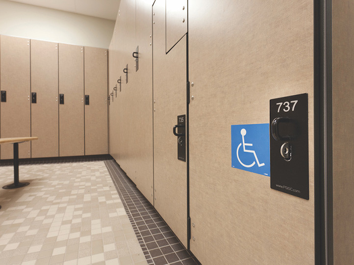 The locker room at the Joshua W. Soto Physical Fitness Center had to be compliant with the Americans with Disabilities Act.