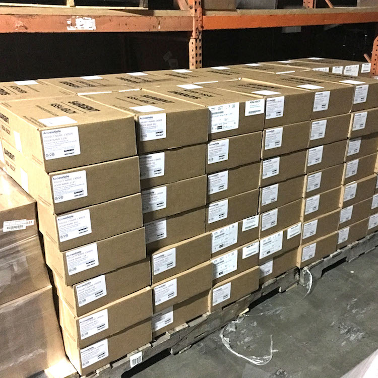 1. The Intelligent locksets shipped to the Lenexa, KS Regional Service Center where they were programmed, re-boxed, and individually labeled as to which door they would be installed on.