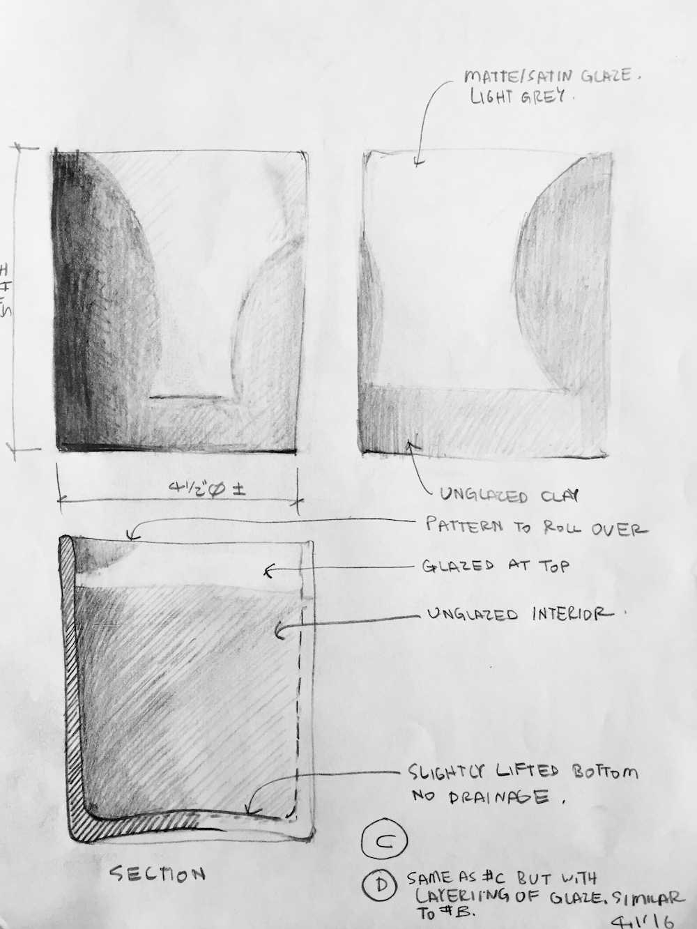 Schematic sketches showing the initial finish and size ideas in addition to form study models were made prior to prototype production.