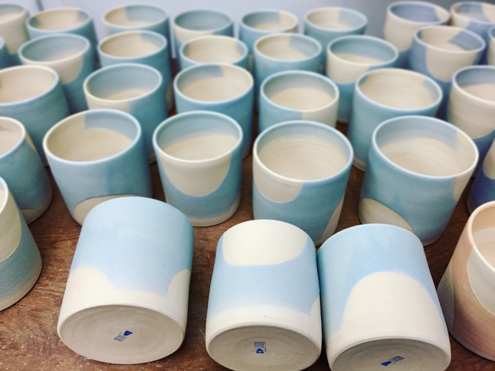 Glazed and finished pots in light blue.