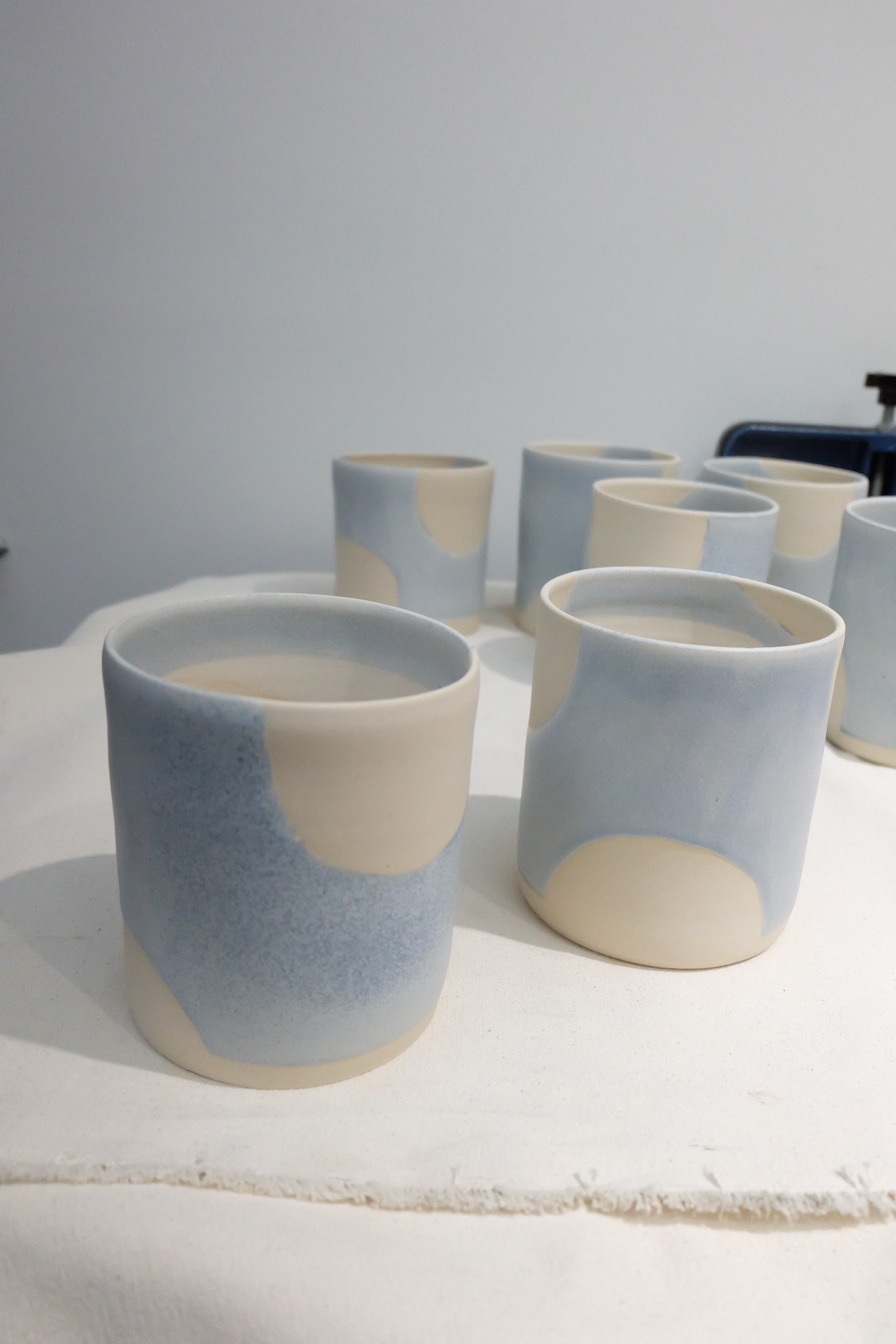 Glazed and fired pots in lavender.
