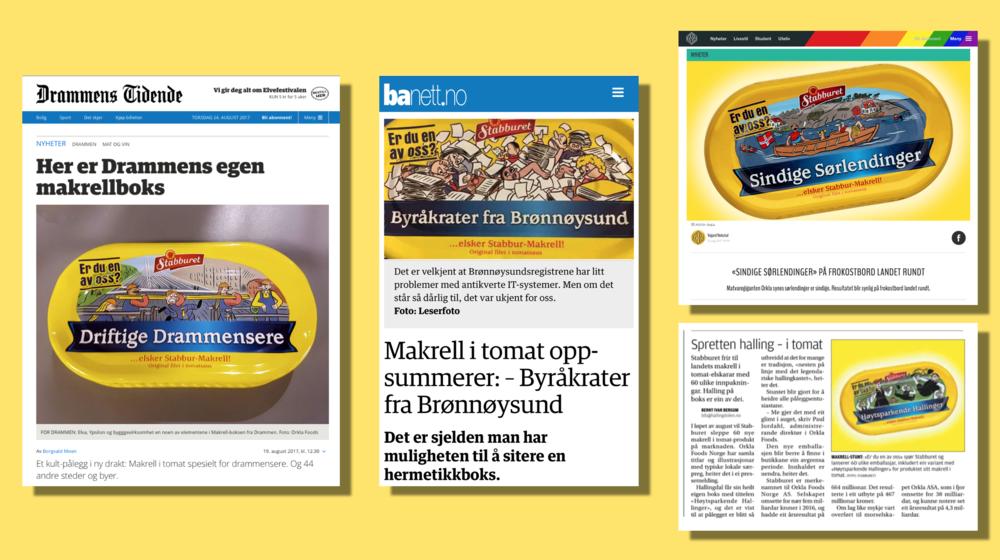 Faksimile fra Drammens Tidende, Brønnøysunds Avis, Fedrelandsvennen og Hallingdølen.