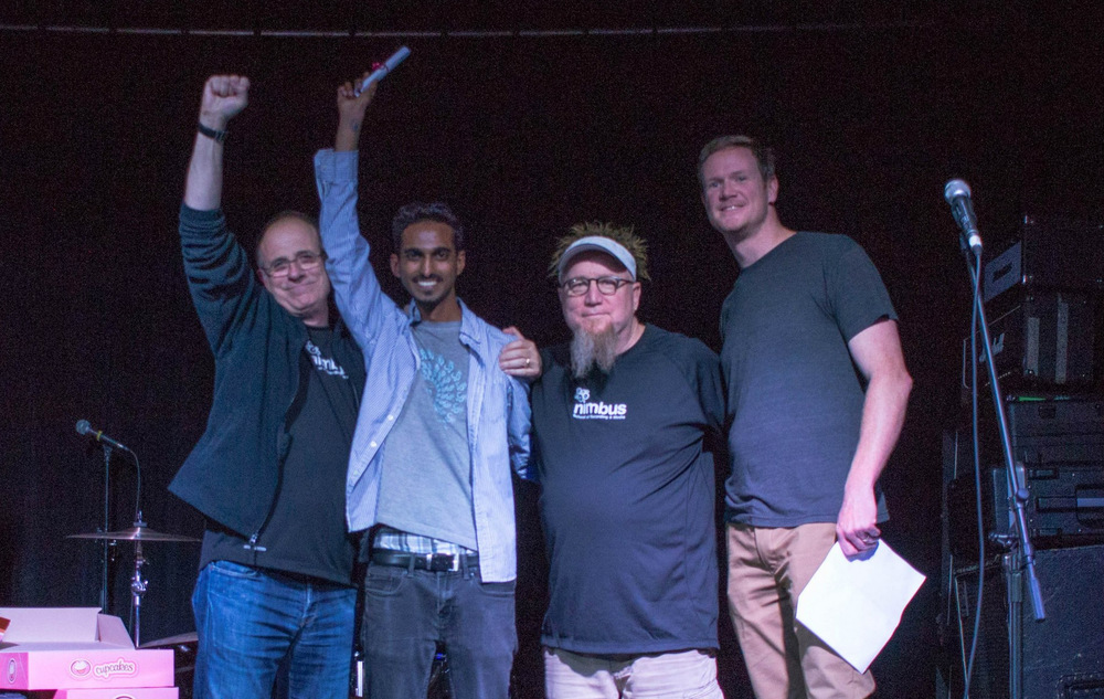 Nimbus graduation ceremony with (L-R) Bob Ezrin, Chirag Mahajan, Garth Richardson, and Rob Stefanson