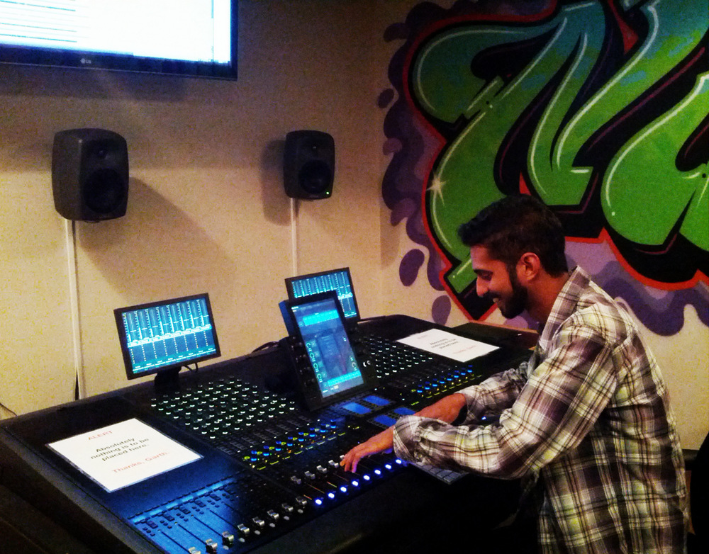 Chirag working on the Avid S6 console at Nimbus School of Recording & Media