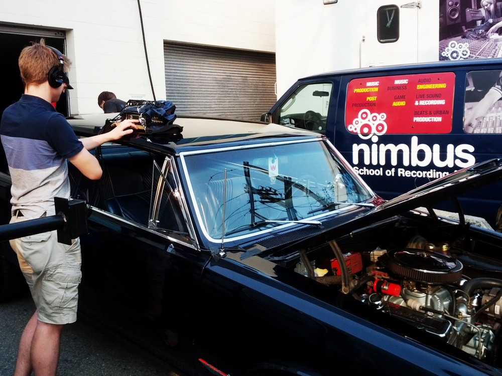 Nimbus' Post and Game Audio Program class recording the sounds of a Shelby GT500 on to a Sound Devices 744T Digital Recorder