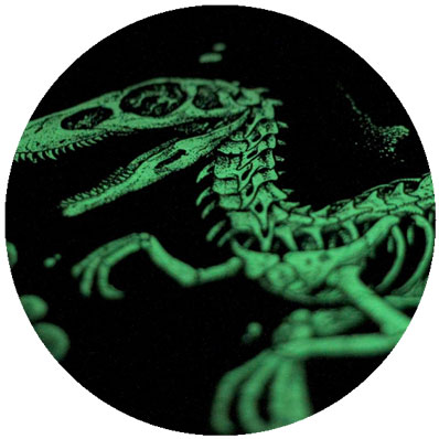 Glow in the dark  Gives the print a ghoulish green glow.