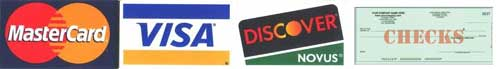 We accept MasterCard, Visa, Discover and Checks