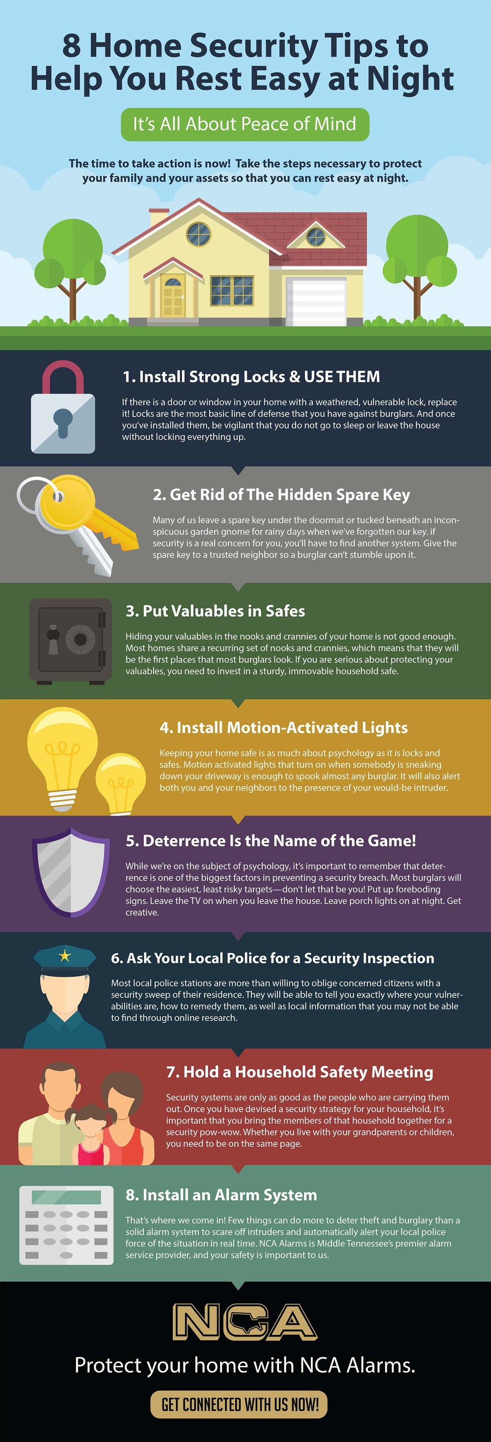 8 Home Security Tips Infographic | NCA Alarms Nashville Home Security Tips on home beauty tips, home security companies, mortgage tips, security systems, security cameras, alarm systems, home hacks, home security equipment, home alarm systems, security alarms, home access control, home software, home hiding places for valuables, home safety tips, home electrical wiring tips, home alarms, burglar alarms, wireless home security, business tips, home security alarm systems, surveillance cameras, wireless home security system, diy tips, home selling tips, dance tips, home security company, home security cameras, interior decorating tips, home security alarm, home products, golf tips, insurance tips, diy home security,