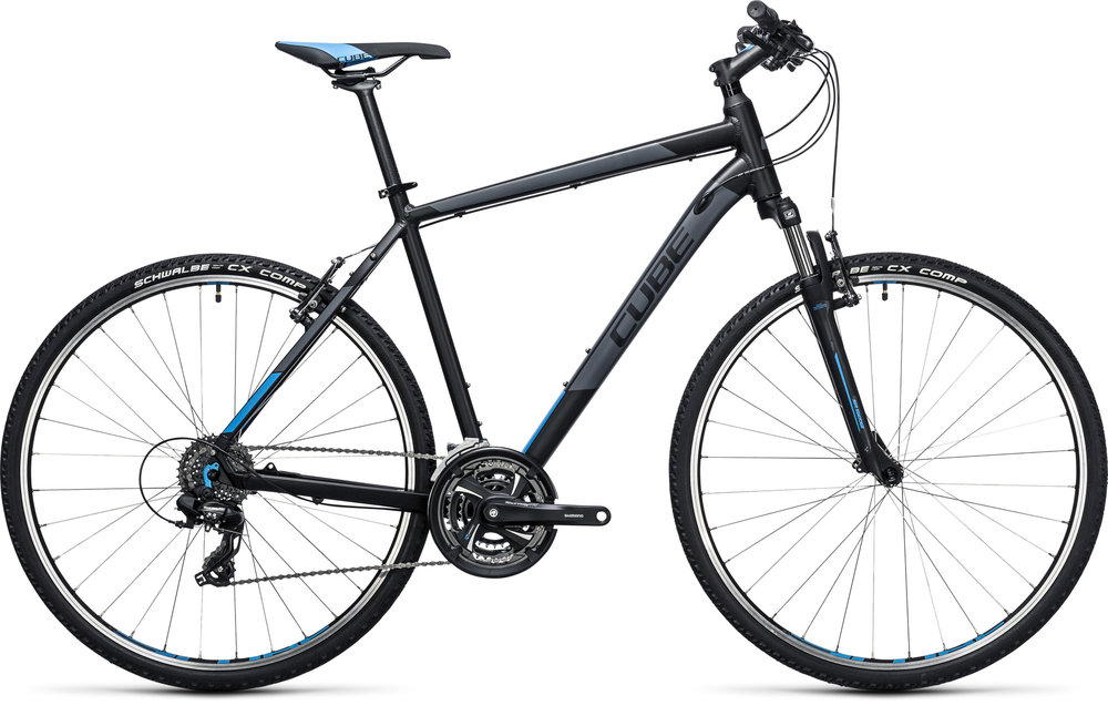 HYBRID BIKES - WITH 700C WHEELS, WIDE-RANGE GEARS AND FLAT BARS, HYBRIDS ARE MIDWAY BETWEEN ROAD & MOUNTAIN BIKES. THE UPRIGHT RIDING POSITION MAKES THEM GREAT FOR TRAFFIC AND FOR LEISURELY RIDES IN THE COUNTRY