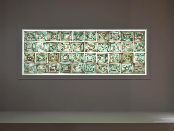 Rudolf Staffel, Untitled (Commission for the Magee Rehabilitation Hospital, Philadelphia), 1982, forty porcelain tiles washed with copper salts, each handcrafted and applied to frosted glass; wood frame