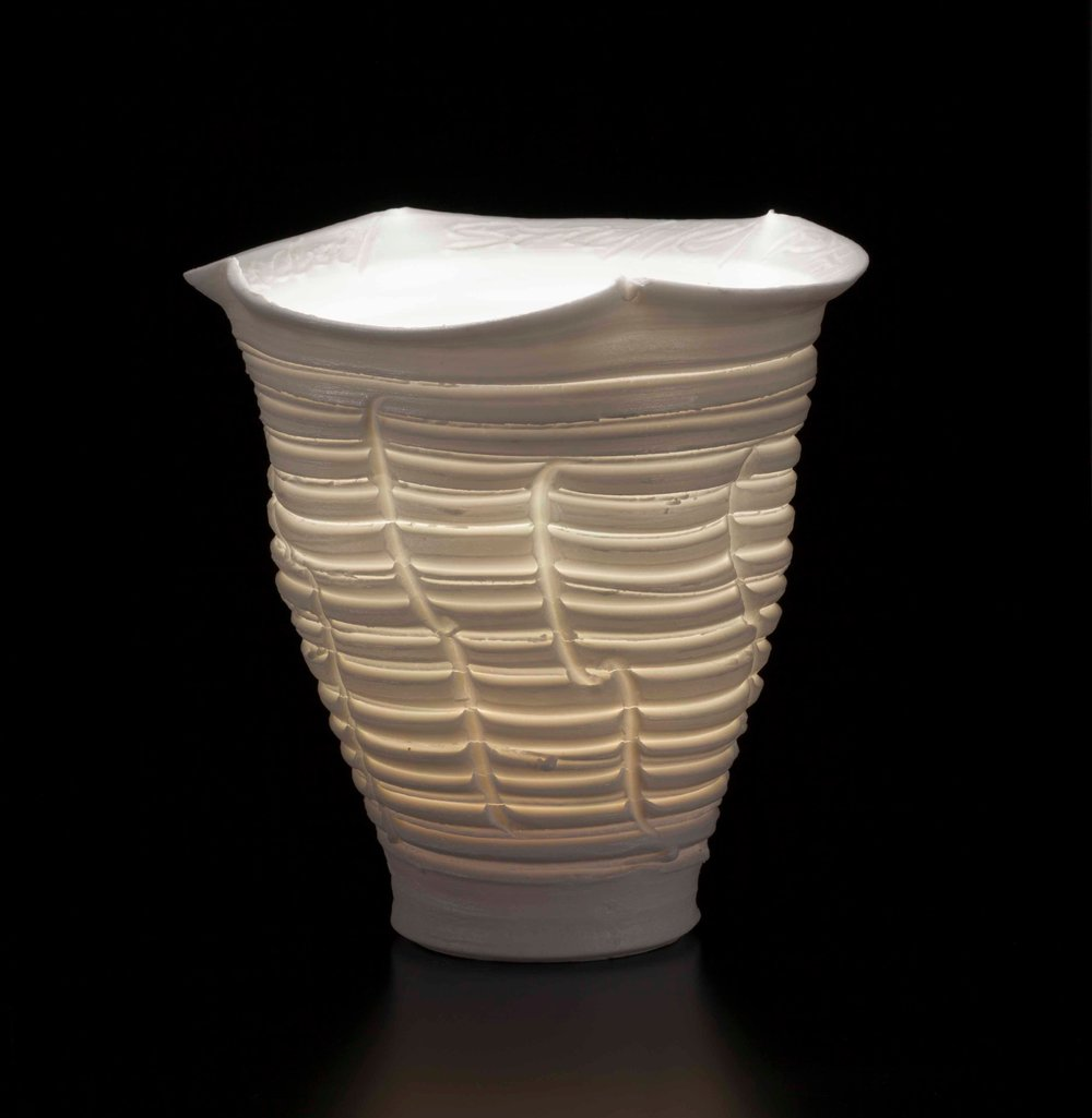 Light Gatherer , 1989, translucent porcelain, wheel-thrown and incised, Collection Shigaraki Ceramic Cultural Park, Japan