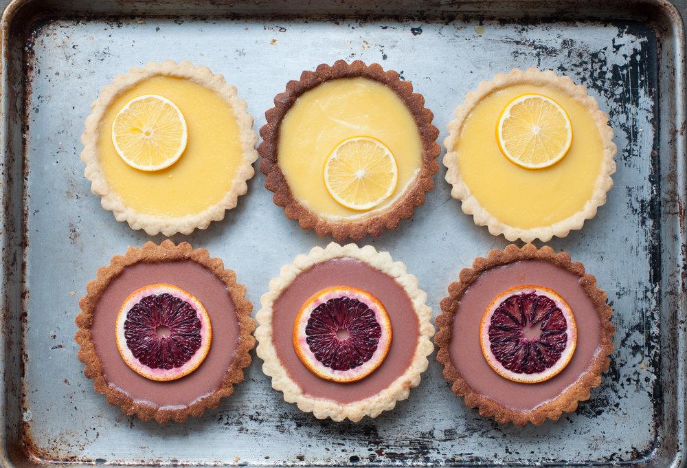 blood orange + meyer lemon tarts