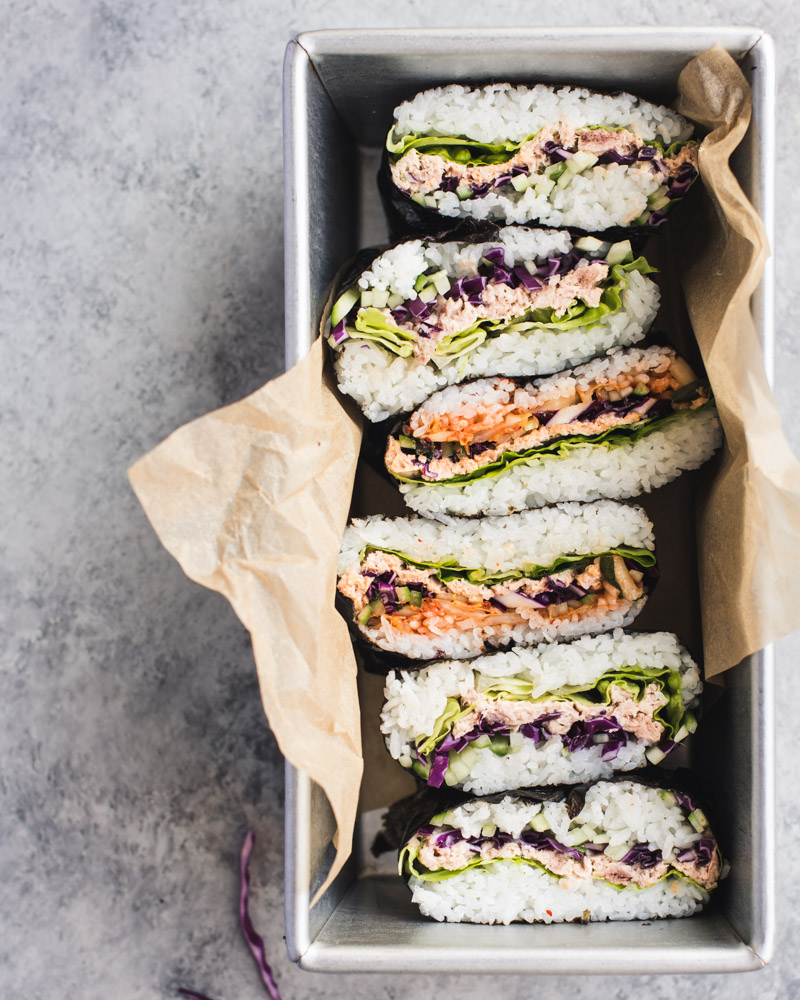 Tuna and Kimchi Onigirazu aka Japanese Rice Sandwich