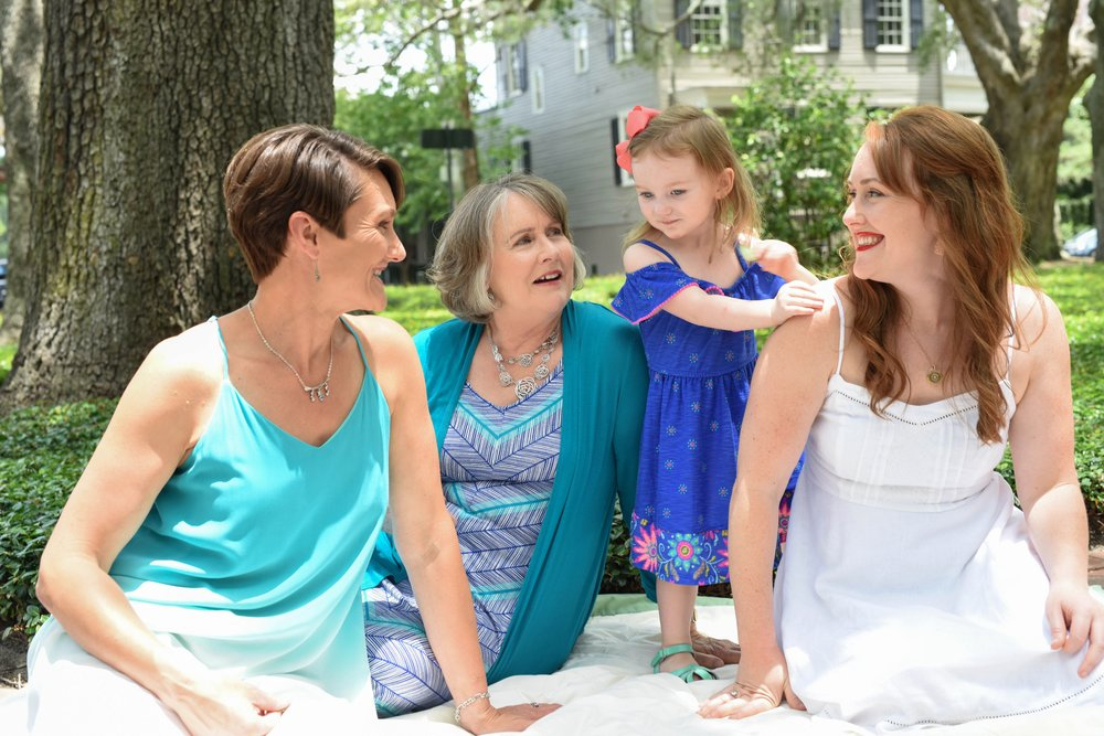 Three generations in one photo; my sister (Marie), my mom (Geory), Ettalee, and myself. Photos by  Sarah Kohut Photography .