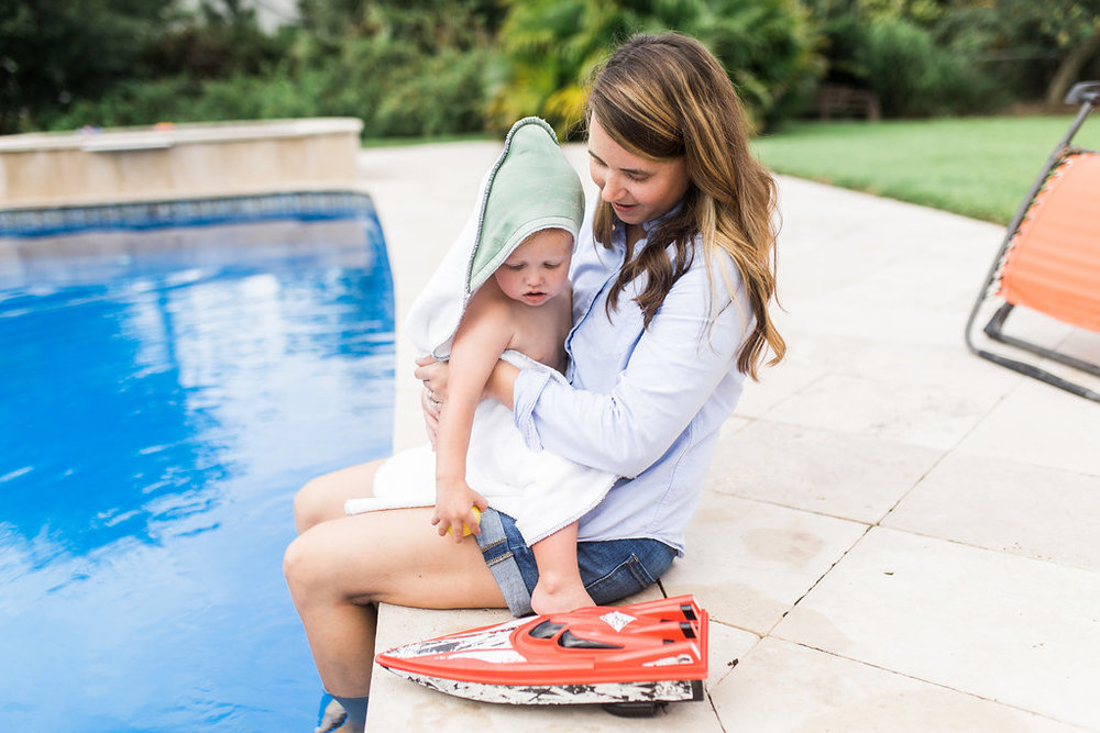 Dry off after a fun pool session with our snuggly  Hooded Towel !