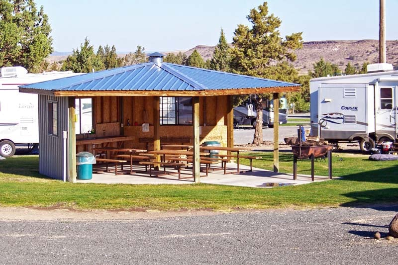 Our upper gazebo accommodates 10 RVs with full hook-ups