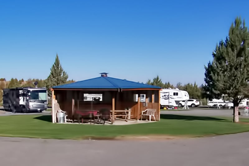 Our lower gazebo accommodates 5 RVs with partial how-ups (water & electricity only)