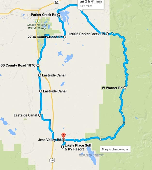64 miles – West Warner Rd, Modoc NWR, Alturas Farms