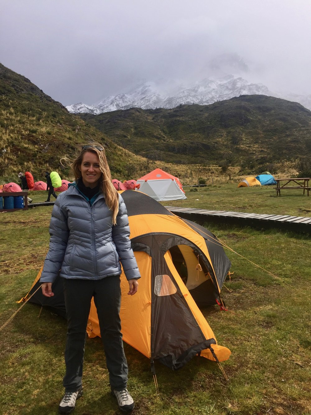 Standing in front of my humble abode in Torres del Paine National Park.