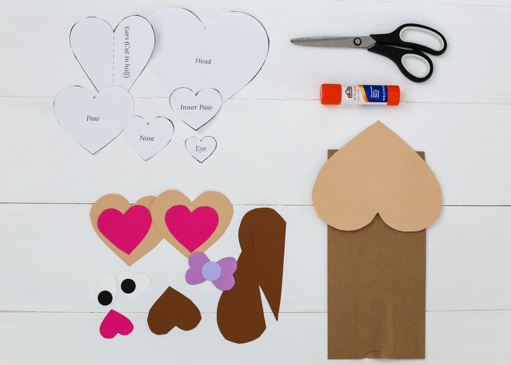 Heart Puppy Puppet Craft from The Littles and Me