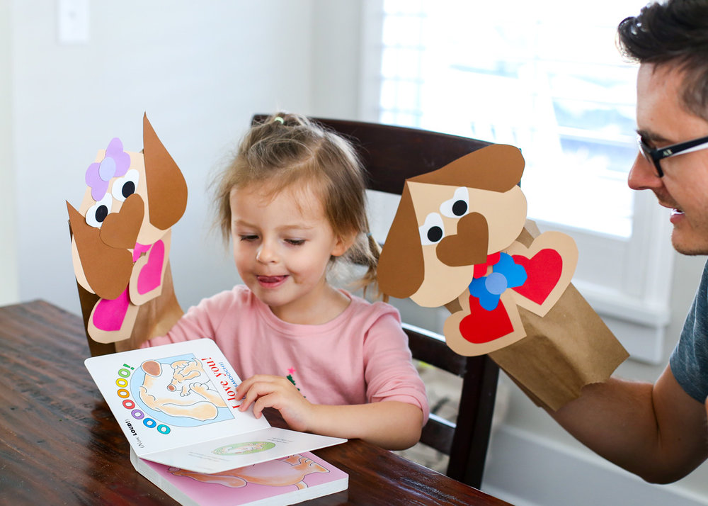 Heart Puppy Puppet Craft from The Littles & Me