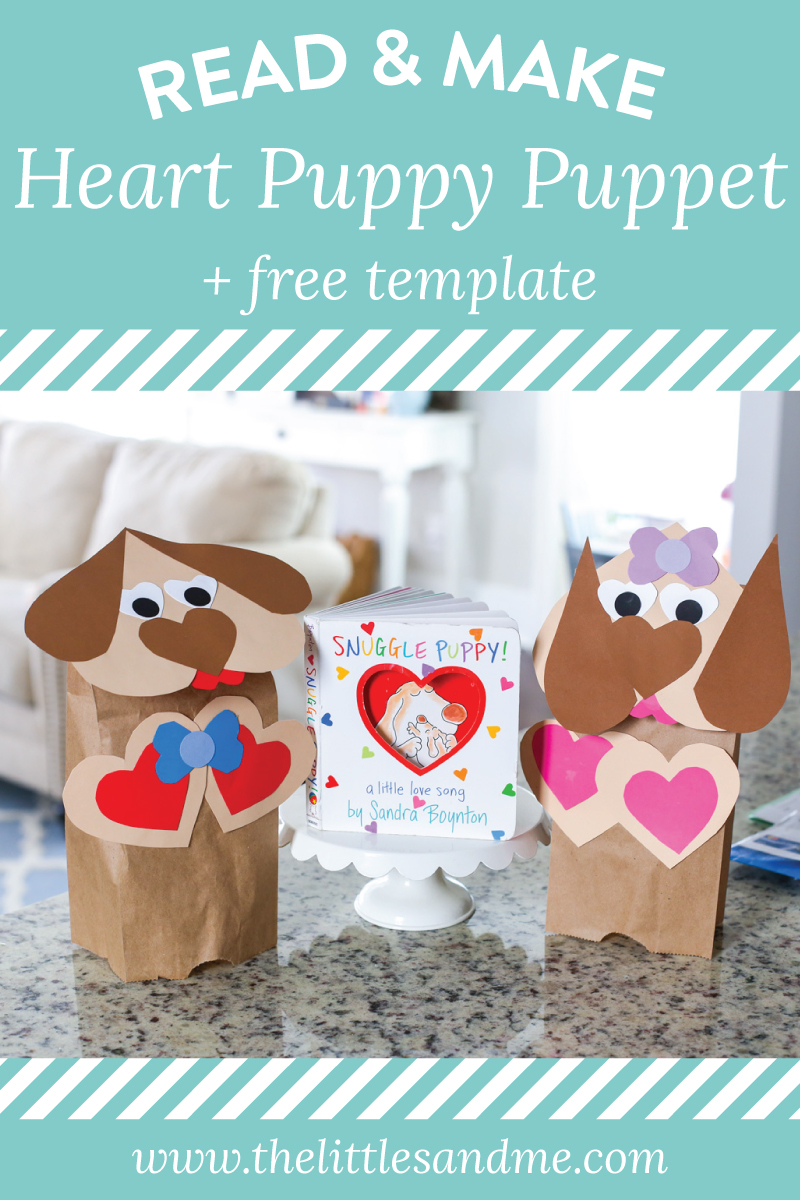 Heart Puppy Puppet Craft with a FREE Printable template from The Littles & Me