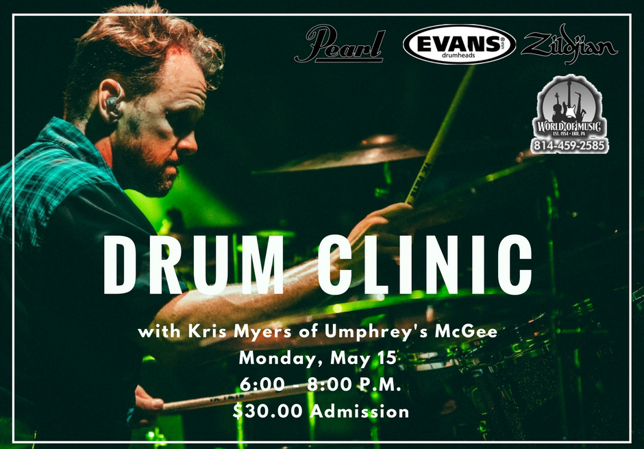 I am happy to announce that World of Music in Erie, PA will be hosting me for a drum clinic on Monday, May 15. I will be discussing and demoing both rock and jazz drumming so come and hang out with us for the evening!   1355 West 16th Street | Erie, PA 16508   6:00 PM - 8:00 PM   $30.00