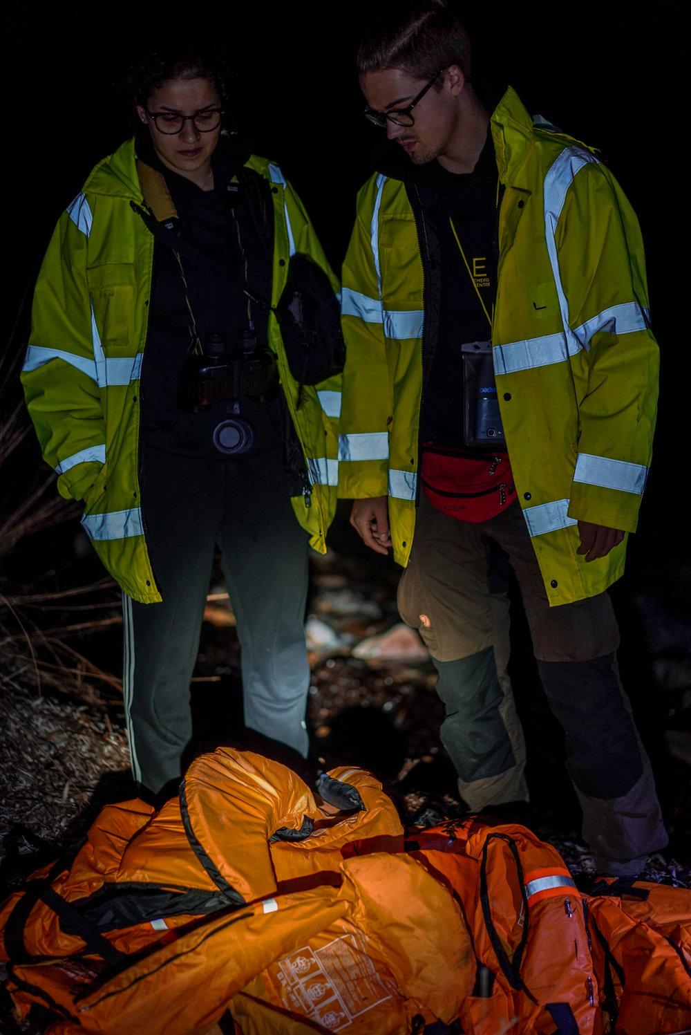 While watching the shoreline, Sarah discovers discarded lifejackets from a boat she rescued.