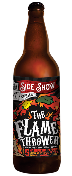 THEFLAMETHROWER - DATE RELEASED: May 5, 2017Style: Spiced Farmhouse Ale Body: MediumAroma: Sweet honey, citrus and pear, underlying hint of bubblegumTaste: Citrus rind, stone fruits, vinous finish with a subtle heat that buildsABV: 6.3%  -  IBU: 20
