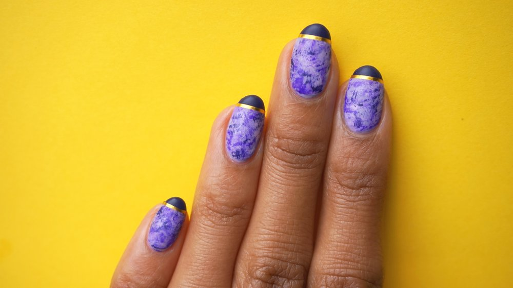 Theme: 30 minutes or less.   I used a splatter technique to achieve this look. Splatter is the simplest way to add a little something to your nails and you really can do this look in 30 minutes of less. The tutorial for this was posted on Jan 17. Go check it out!