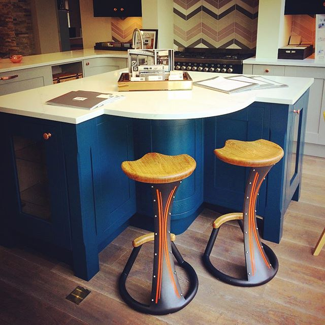 Now available @designaspace24 in Amersham. Special edition pair of bar stools in Anthracite and quartersawn Oak. #twoofakind #industrial #interior #kitchen #handmade #barstools