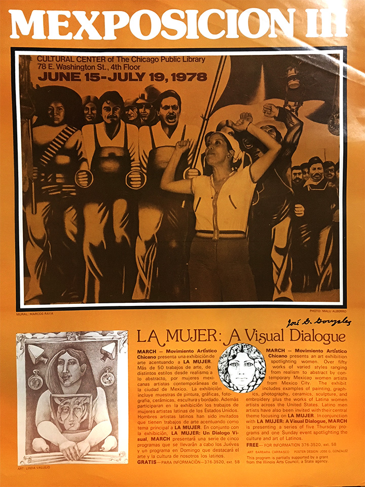 La Mujer, A Visual Dialogue was an exhibit curated by Jose Gonzalez, and this poster, also designed by Jose Gonzalez, features a photo by Malü Alberro y Ortega that appears to have been taken at Casa Aztlan. I got this poster from Len Dominguez.