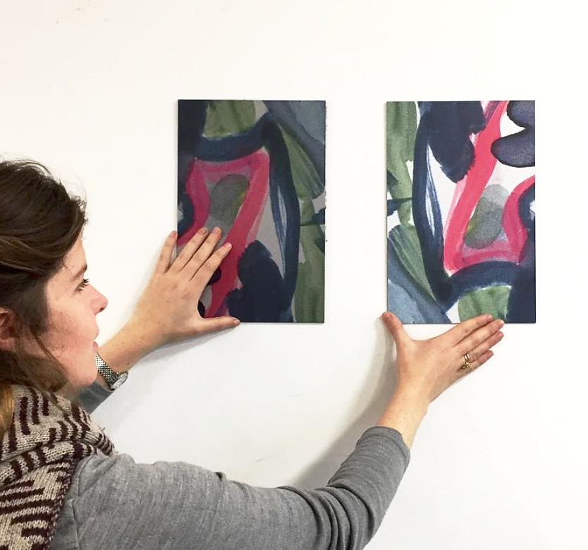Artist Tamsin Relly trying out small test prints on different media in preparation for working onsite at Eileen Skellern 1 Women's PICU.