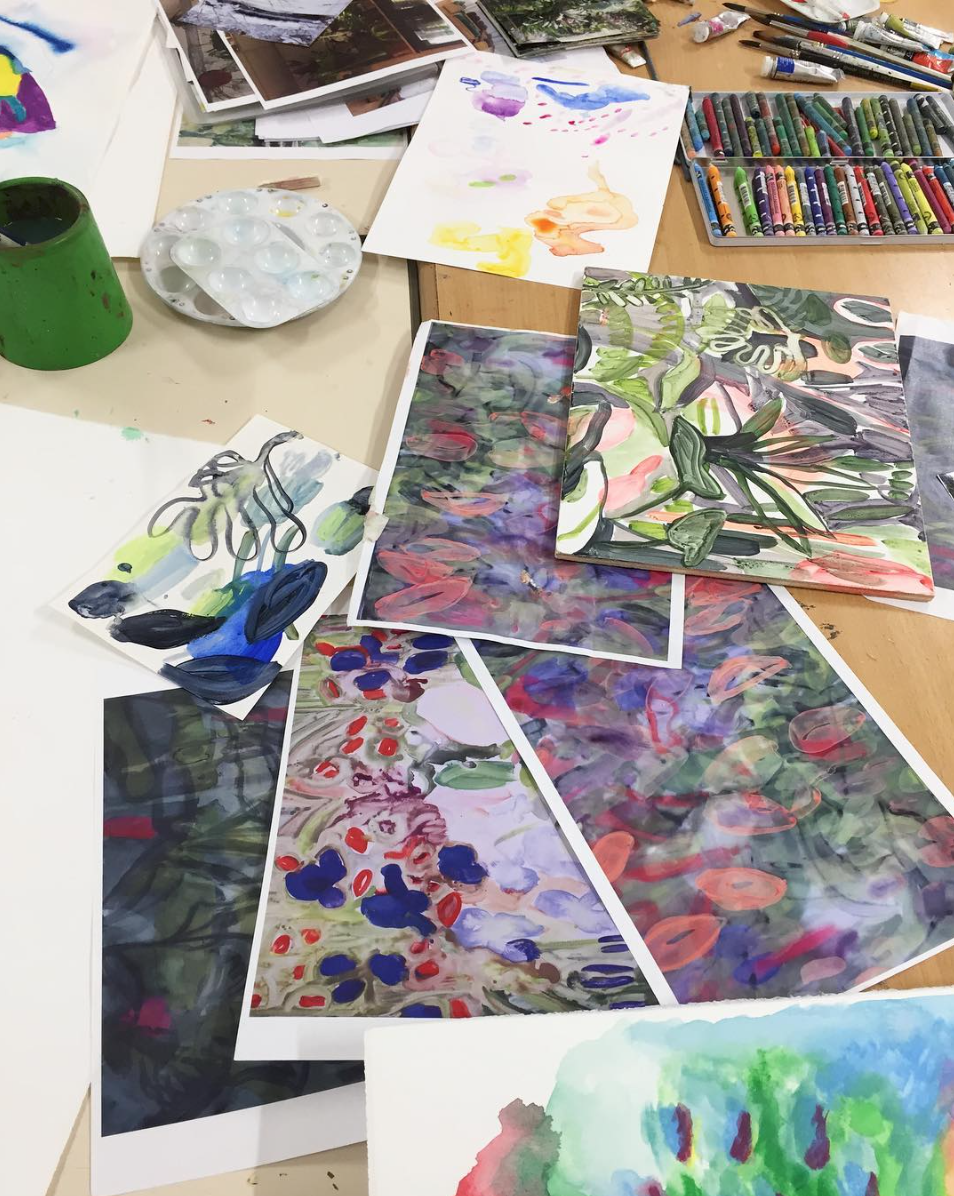 Tamsin ran two workshops at Eileen Skellern 1 during the course of our project. In the first she invited service users and staff to paint or draw their earliest memories of being in nature. The work produced during the workshop, along with conversations Tamsin had with staff and service users, fed directly into the work she eventually made for ES1.