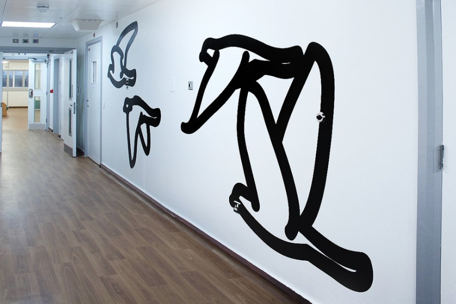 Julian Opie,  Four Pigeons,  in the corridor at ES1