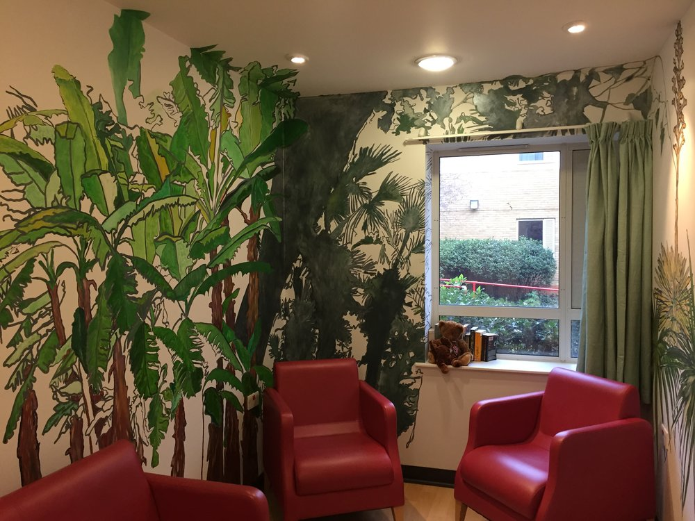 Sutapa's completed mural in the Women's Quiet Room at Garnet Ward, with new curtains chosen by ward manager Reid Baboolal to complement the colour scheme of the artwork.
