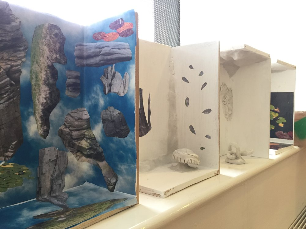The work Rachael has created for the Telephone Room was informed by the workshop she led for residents at Bluebell Lodge. Titling the workshop, 'Finding Terraspheric Forms', Rachael brought some wooden mock-ups of the Telephone Room and residents used collage and clay sculpture to explore ways of altering the space (pictured above and below).