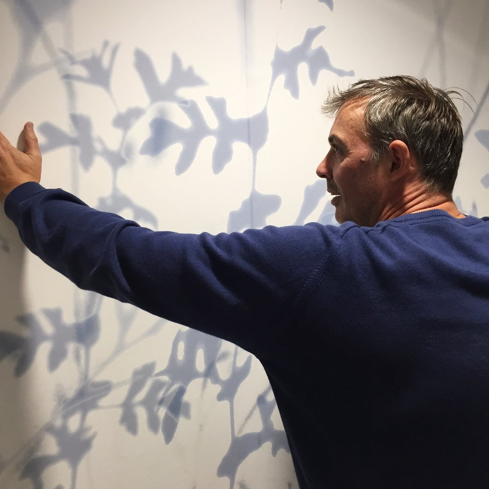 Steve Macleod installing his work in the Gym at Bluebell Lodge.