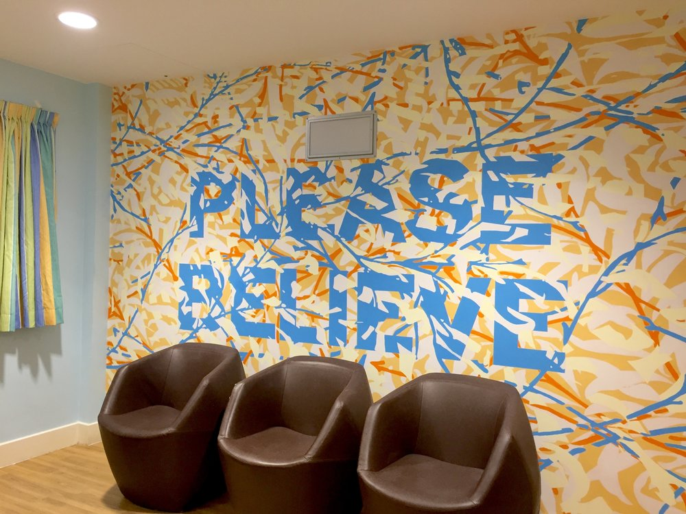 Mark Titchner's completed wall painting in the TV Room at Bluebell Lodge