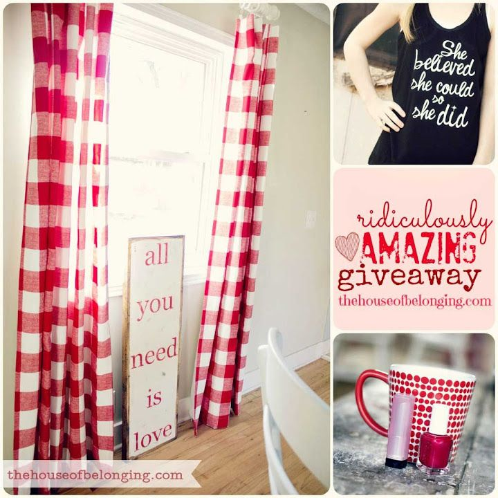 red gingham curtains.  sign from House of Belonging ( giveaway is closed )