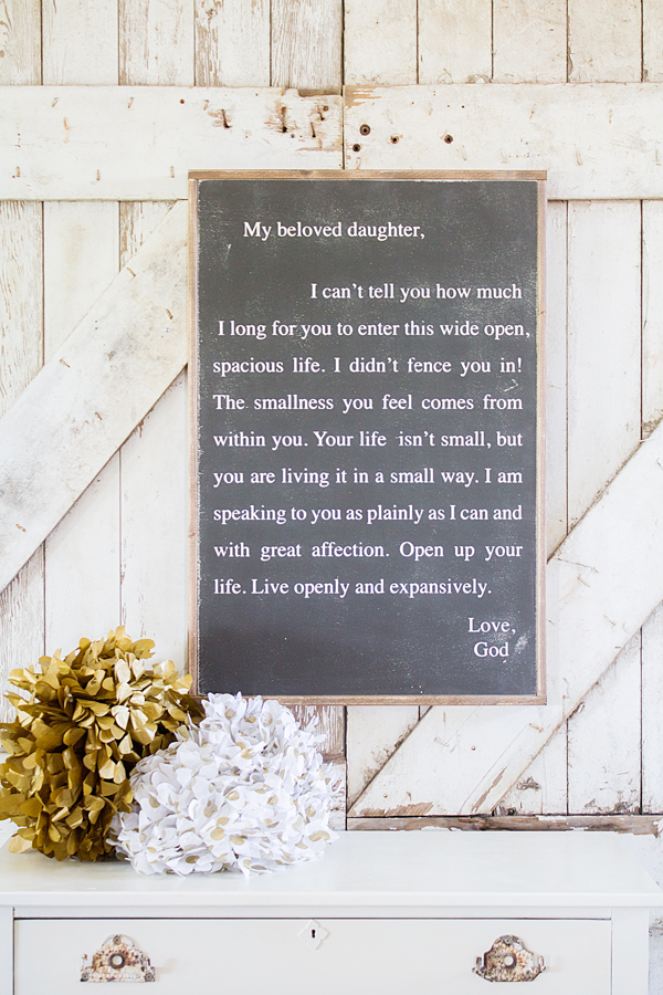 letter to my daughter sign : house of belonging