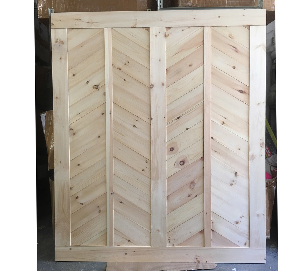 Oversized double modern chevron barn door one door for Oversized barn doors