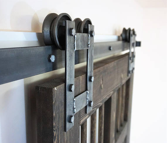 Rustic H Sliding Barn Door Hardware Kit More Colors Available