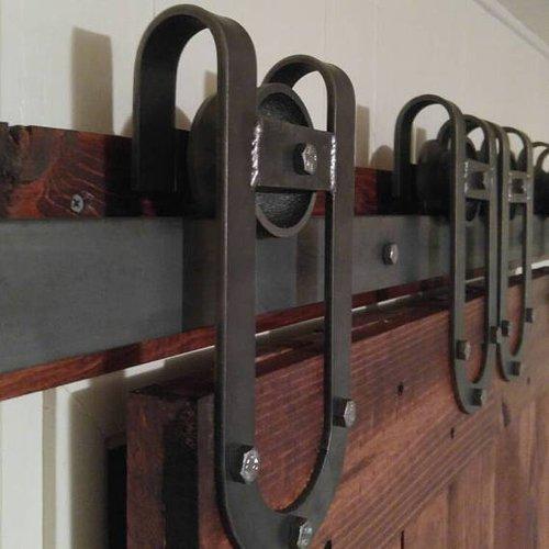 Rustic Horse Shoe Sliding Barn Door Hardware Kit More Colors