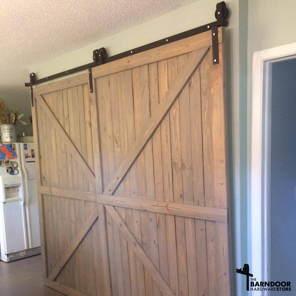 Single Track Bypass Sliding Barn Door Hardware Kit More Colors